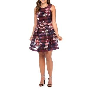 VINCE CAMUTO Shadow Striped Floral Dress NWT